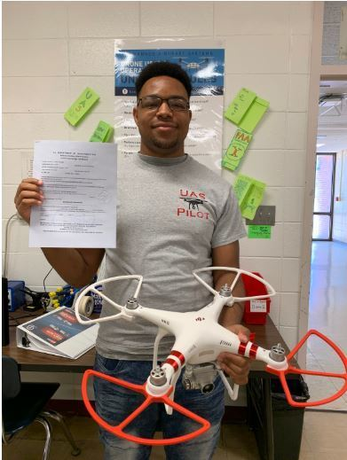Barton's 1st Student to Become UAS Remote Pilot